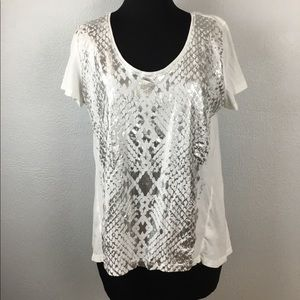 DKNY Jeans White T-Shirt with Silver Graphic.